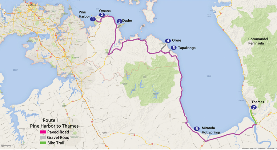Bicycling North Island New Zealand-Route 1 Auckland to Thames Map from our book: New Zealand Favorite Scenic Bicycle Touring Routes