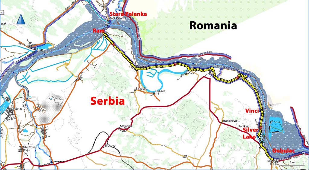 Bicycling Serbia-Map-Stara Palanka to Golubac-Serbia