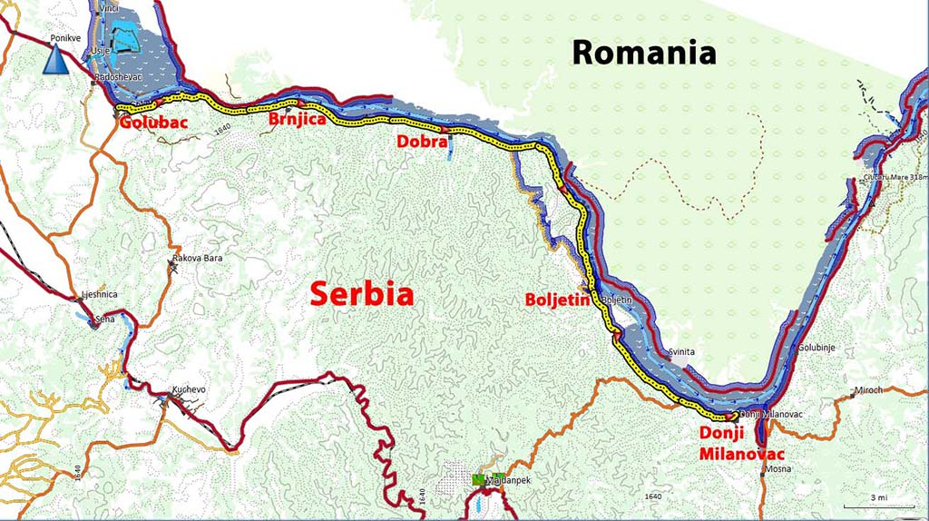Bicycling Serbia-Map-Golubac to Donji Milanovac
