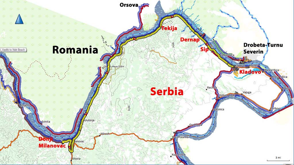 Bicycling Serbia-Map=Donji Milanovac to Kladovo