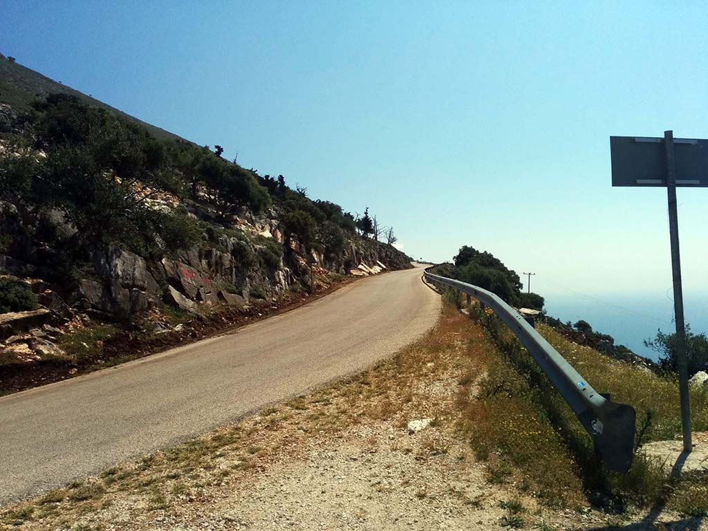 Bicycling Kephalonia Island- Big hill out of Agia Effimia