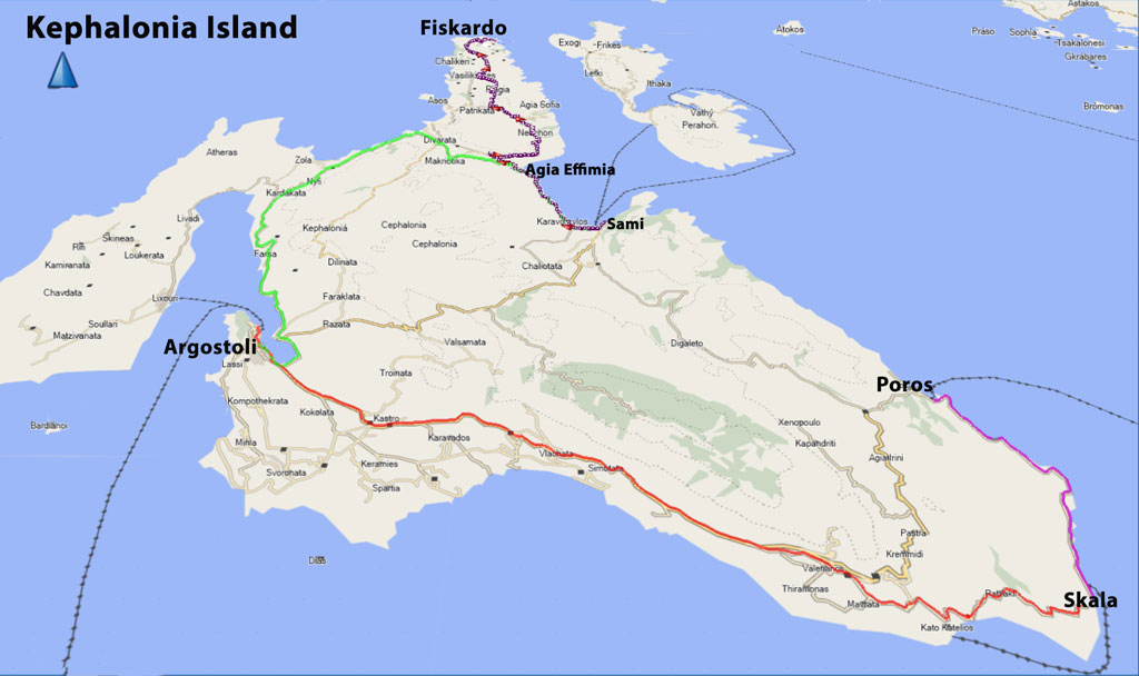 Bicycling Greece-Kephalonia-Island-Our-route