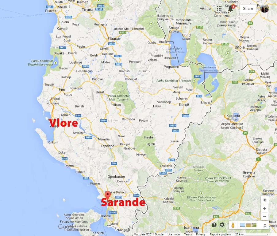 Bicycling Albania-Sarande to Vlore-Map