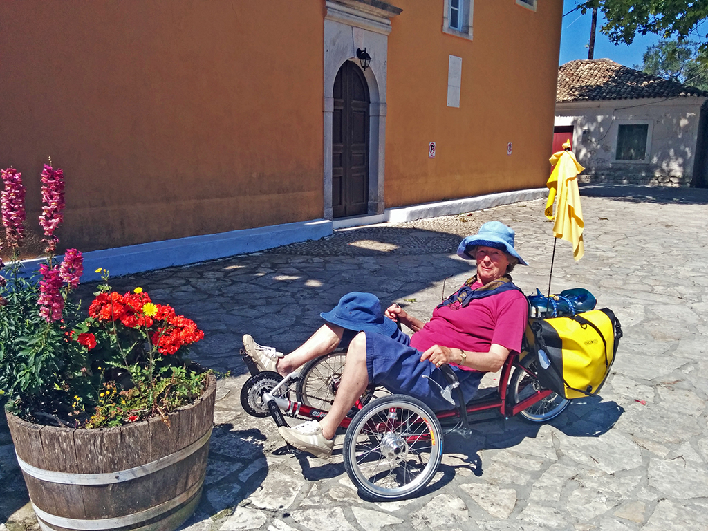 Bicycling Paxos-Loggos to Gaios-Brit lady likes Anne's trike
